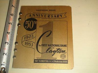 BU662 1953-1954 Telephone Index Calendar Book Ad First National Bank Clayton MO