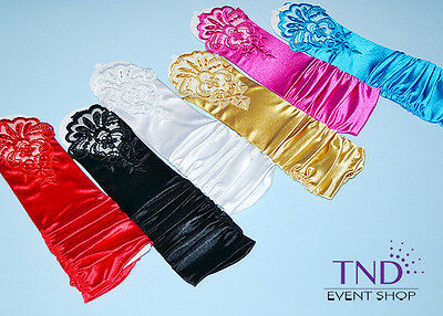 Fingerless Stretch Satin & Lace Wedding Bridal Prom Dance Gloves