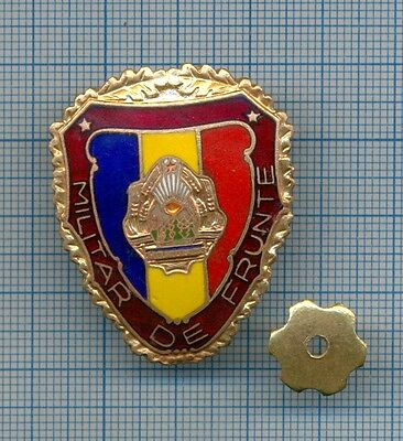 """Old Communist Romanian Army """"Outstanding Soldier"""" Military Badge 1960s"""