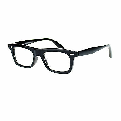 New Mens Black Retro Old School Thick Plastic Horn Rim Clear Lens Eye Glasses
