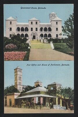 BERMUDA 1900s UNUSED GOVERNMENT HOUSE & POST OFFICE & PARLIAMENT HOUSE POSTCARD
