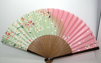 Chinese Bamboo Folding Floral Pattern Gradient Color Silk Fan