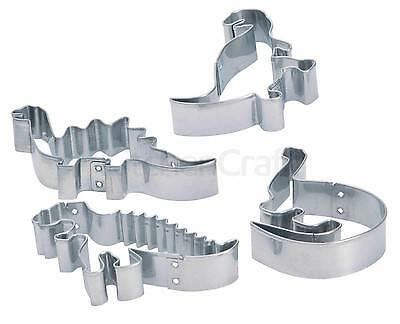 Set of Four Stainless Steel Dinosaur Cutters