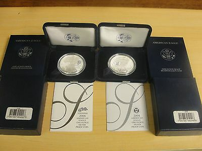 2004 & 2006 AMERICAN SILVER EAGLE PROOF COINS W/ BOXES & COAs FREE SHIPPING !!!