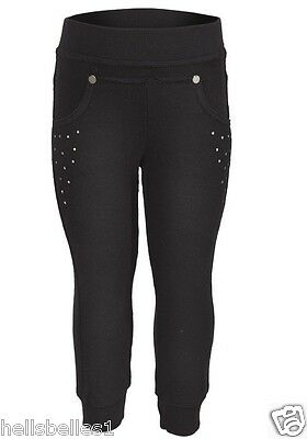 Girl's Ex Benetton Black Jogging/jog Pants/trousers With Diamonte Details 4--12Y