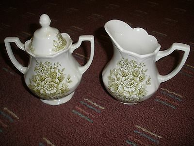 VINTAGE J & G MEAKIN ENGLAND AVONDALE GREEN SUGAR BOWL WITH LID AND CREAMER