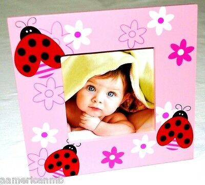 Baby Girls Wooden Photo Frame 7x6.5 Pink Ladybugs Flowers Table Top/Hang Picture