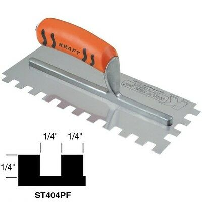 """Kraft Tool Notch Tile Trowel Square Notch 1/4"""" x 1/4"""" x 1/4"""" Made in the USA 199"""