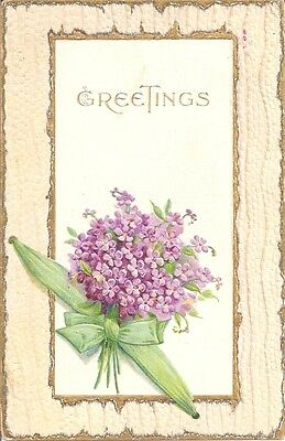 Bouquet of Lovely Violets on Old Greetings Postcard - Ser. 888
