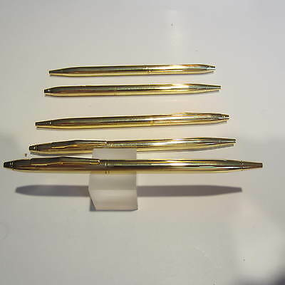LOT OF 5 TERZETTI Model Cross GOLD BALLPOINT PENS-Ideal Slim Pen-