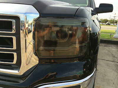 14-17 Gmc Sierra Smoke Head Light Precut Tint Cover Smoked Overlays