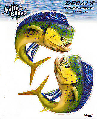 Mahi Mahi Decals Bumper Stickers Right Left Mirror Images Gifts Fish Fishing Men