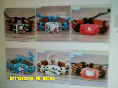 HELLO KITTY GENUINE LEATHER/ HEMP BRACELET YOUR CHOICE