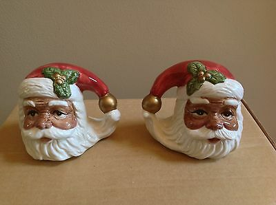 Fitz and Floyd Omnibus AFRICAN AMERICAN SANTA FACE Salt & Pepper Shakers