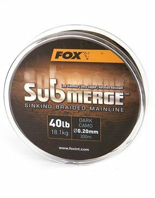 Fox NEW Submerge Sinking Braided Mainline 300m *Dark Camo 25lb or 40lb*