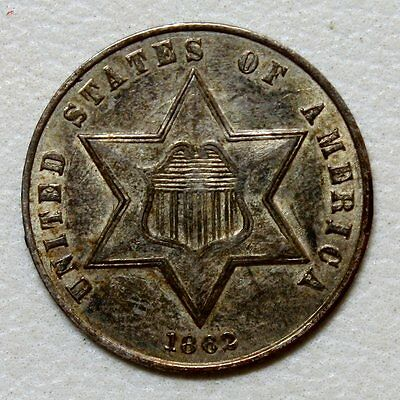 1862 Three Cent Silver * Outstanding Details and Originality