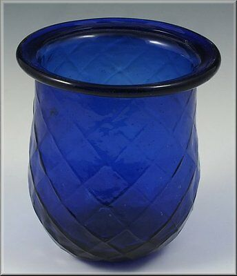 19thC Pittsburgh Glass Cobalt Blue Candle Cup w/ Rolled Rim & Molded Designs
