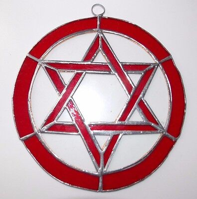 Leaded Stained Glass Round Sun Catcher Red Star of David  Hanging 7''  #2
