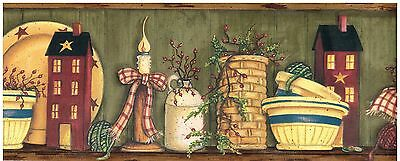 SMALL HOUSES AND POTS ON SHELF Wallpaper bordeR Wall Decor