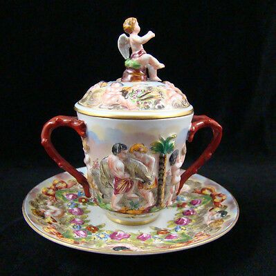 Antique Capodimonte Branch Handle Chocolate Cup Lid & Underplate Angel Finial #2