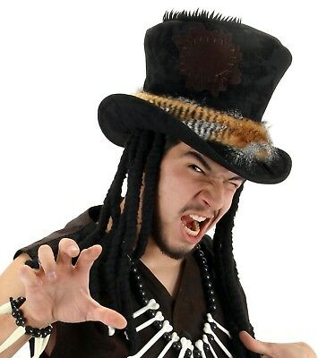 Witch Doctor Costume Hat Steampunk Dreads Feathers Adult Men's Black