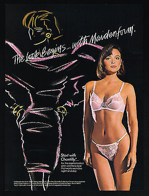 1987 Maidenform Pink Lace Bra String Bikini Pantry Lingerie The Look Print Ad