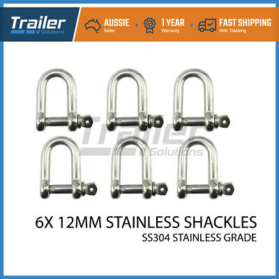 STAINLESS STEEL D SHACKLE 12mm 304 STANDARD M12 - Marine Boat Sailing Shade Sail