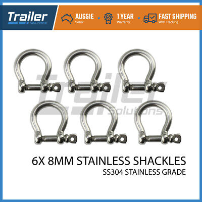 X6 Bow Shackle Stainless Ss304 8Mm Fits Arb,tjm Winch Snatch Trailer Boat Marine