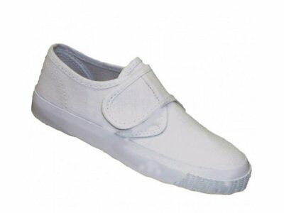Mirak SCHOOLRITE Boys Girls Junior Kids Infant School Touch Close Plimsoll White