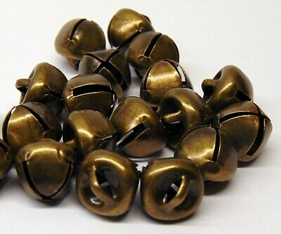 Lot 25 Antique Brass Finish Jingle BELLS 12mm - 13mm Primitive Steampunk 1/2""