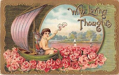 Pink Roses Surrounding Cupid in Sailboat on Old Valentine Postcard - No. 2159