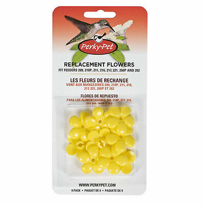 Perky Pet 9 Replacement Yellow Flowers for Hummingbird Feeders Made in USA