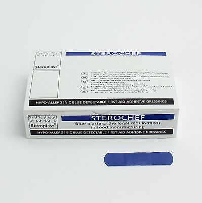 Blue Metal Detectable Catering First Aid Plasters for Food (100) 7.5x 2cm Oblong