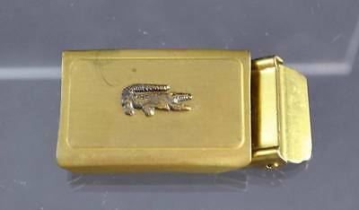 "Vintage Belt Buckle Brass Gator Emblem Design Clip On About 2"" G33"