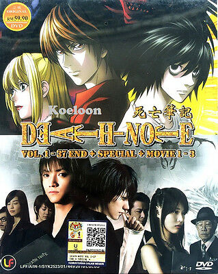 DVD Japan Anime DEATH NOTE Complete Series VOL 1-37 +Special & 1-3 Movie Boxset