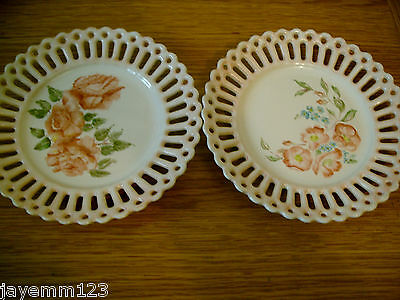 PORCELAIN PIERCED PLATES X 2 ROSES HANDPAINTED CONTINENTAL  PERFECT
