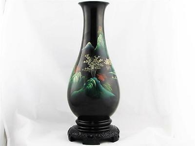 Vintage Chinese Black Lacquer Vase, Hand Made W/ Hand Painted Chinese Village