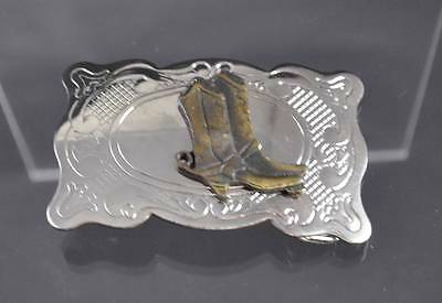 """Vintage Belt Buckle Made In USA Silver Tone Brass Cowboy Boots Filigree About 3"""""""