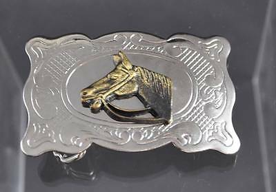 Vintage Belt Buckle Made In USA Silver Tone Brass Horses Head Filigree About 3""
