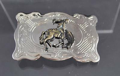 "Vintage Belt Buckle Made In USA Silver Tone Brass Cowboy Horse Filigree 3"" G40"