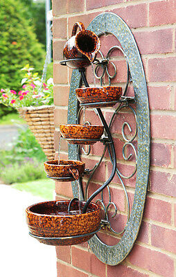 5 Tier Bowls Water Feature Fountain Cascade Tortoise Brown Ceramic Garden