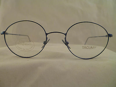TACUMY 1006 STAINLESS STEEL EYEGLASS FRAME-TC10 BLUE-44-18-140-MADE IN ITALY
