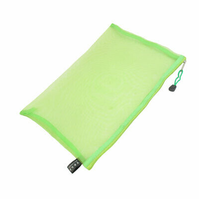 Zip Up Nylon Mesh A4 Paper Document File Pen Bag Holder Organizer Green