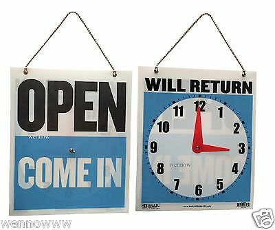 Come In/Open or Will Return Plastic Flip Sign with Clock Hands, 7.5 x 9 Inches