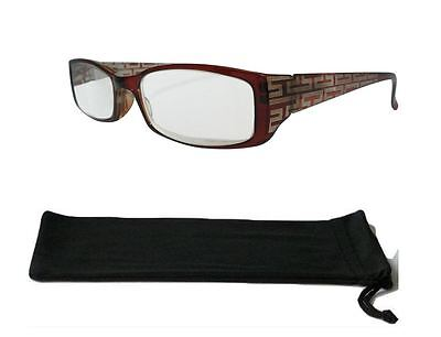 Ladies Extra Strength Glasses Brown Frame High Power Spring Hinges for Crafts
