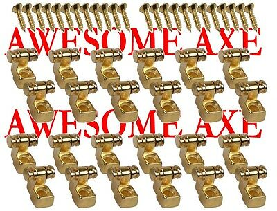 New 12 Pair (24) Gold Replacement Roller String Trees For Fender Strat Or Tele