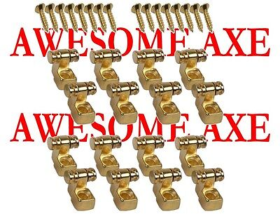 New 8 Pair (16) Gold Replacement Roller String Trees For Fender Strat Or Tele