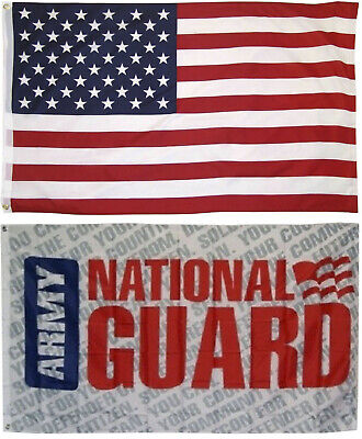 Wholesale LOT 3' X 5' U.S. AMERICAN & US Army National Guard Ltr FLAG Banner 3X5