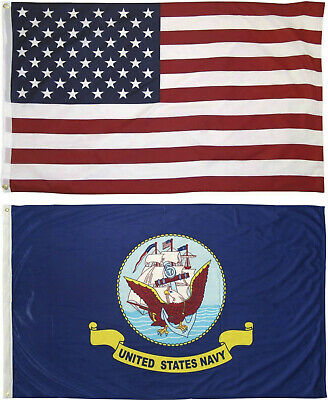 Wholesale LOT 3' X 5' U.S. AMERICAN & US Navy Emblem FLAG Banner 3X5