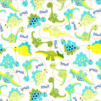 PUL Dinosaurs Waterproof Fabric For Making Nappies Wetbags Etc FQ or Metre NEW